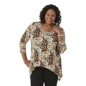 NWT Simply Emma v-neck leopard print top size 1X